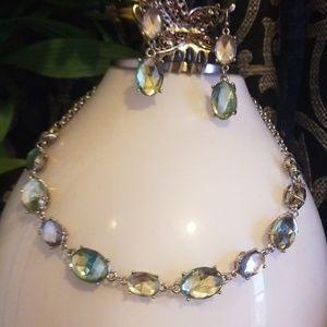 Set of Prasiolite earrings n neckles